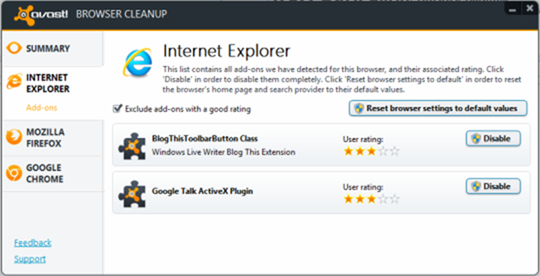 avast browser cleanup for internet explorer