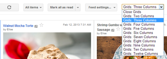 grid preview for google reader - choose number of grids