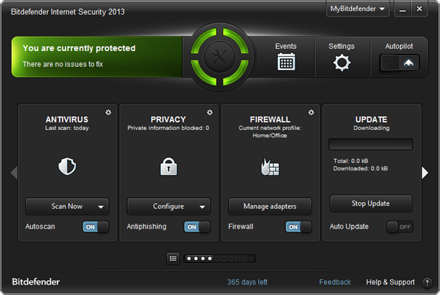 home screen - bitdefender internet security 2013