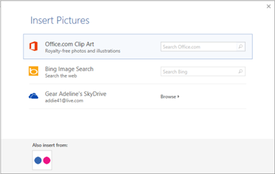 insert pictures from the web - word 2013 new features