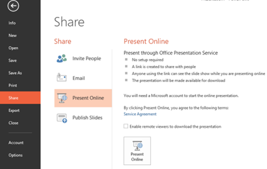 presenting online in powerpoint 2013