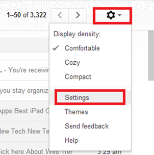 Gmail settings option