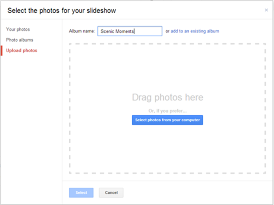 select images for photo slideshows