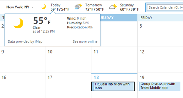 weather bar in outlook 2013