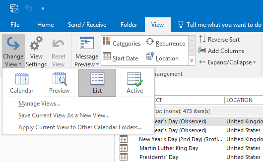how to change calendar view in outlook 2016