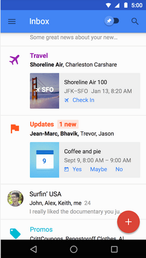 Inbox by Gmail Home screen