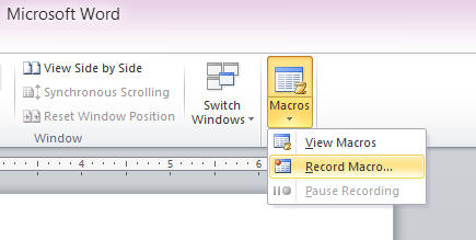 record macros in word