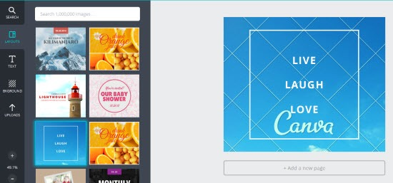 designing images with Free Graphic Design Software Canva