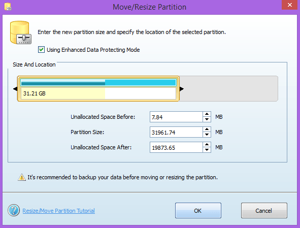 resize partition with minitool partition wizard