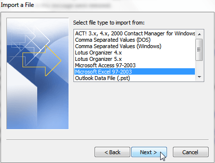 Import Contacts from Excel to Outlook 2010