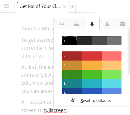 Color palette in the writing editor