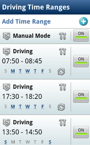 driving time range in Safe Driving + Auto SMS app