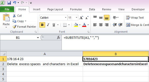 remove spaces in excel completely