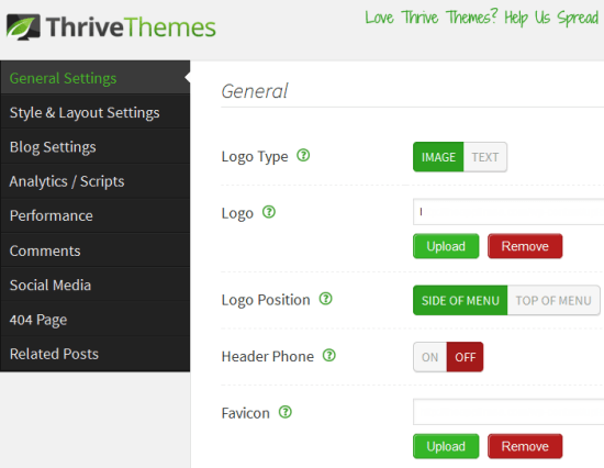 thrive theme options