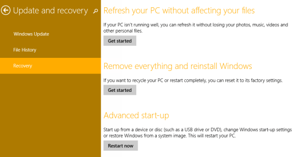 windows 8.1 options to reset data