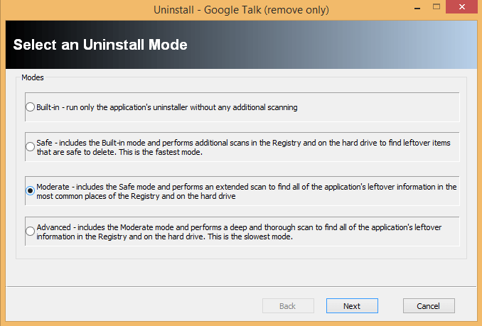 selecting an uninstall mode in revo uninstaller