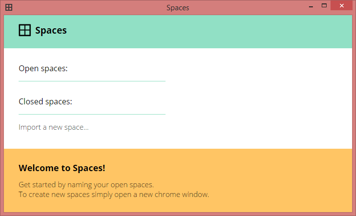 spaces chrome extension home page