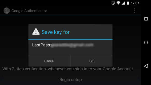 save your lastpass key