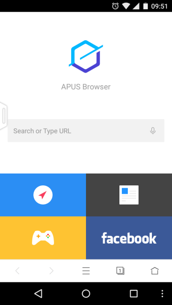 APUS Browser home page