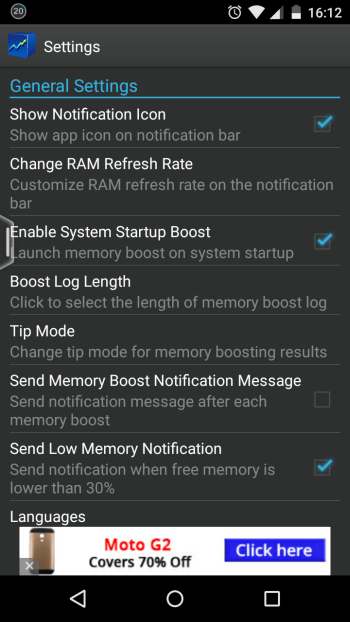 Memory booster app settings