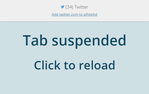 The Great Suspender tab suspended