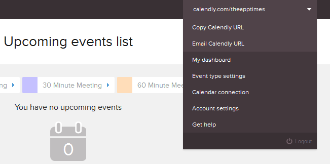 calendly main menu