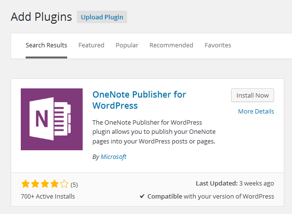 install OneNote Publisher for WordPress Plugin