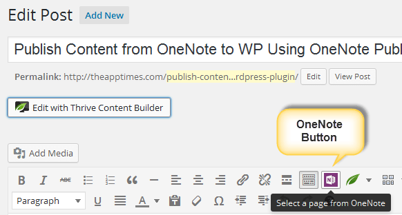 onenote icon in wordpress dashboard