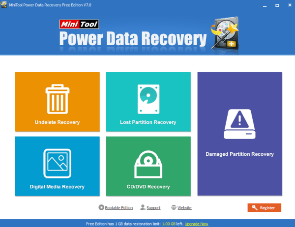 power data recovery home screen