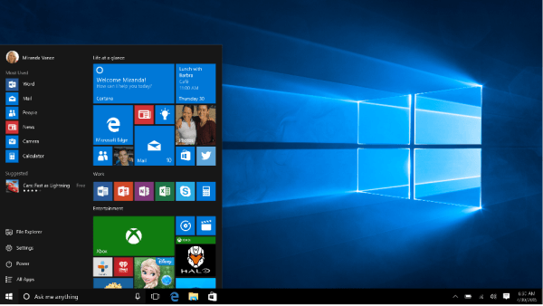 New Features in Windows 10 - Start menu