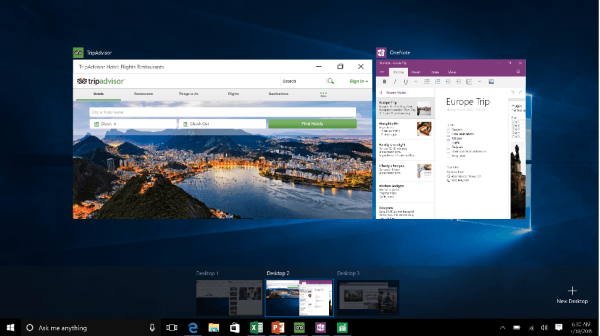 New Features in Windows 10 - Task View and Multiple Desktops