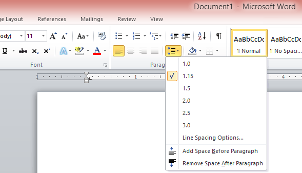microsoft word how to change line leading