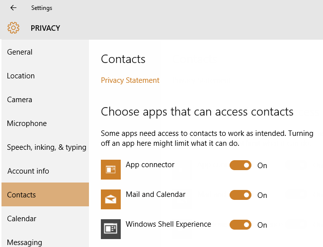 Contacts Privacy Setting