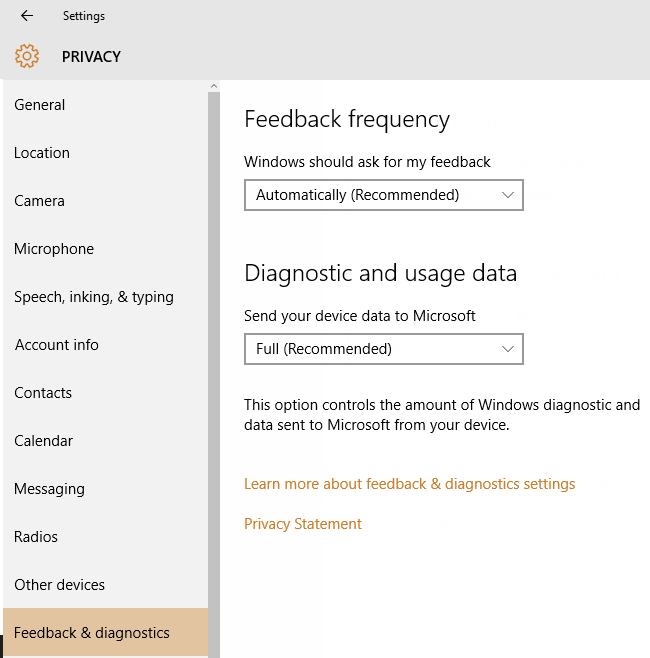 Feedback privacy settings in windows 10