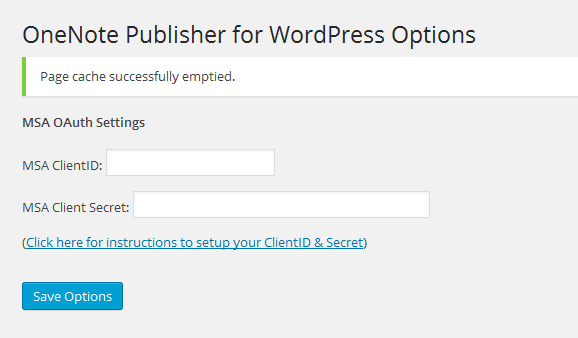 OneNote Publisher for WordPress Plugin Settings