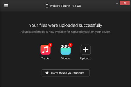 WALTR file upload confirmation