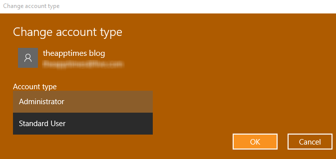 change account type in windows 10 user accounts