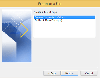 export outlook contacts from 2013 to csv
