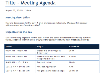 Agenda With Times Template