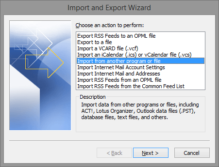 import and export wizard in outlook 2010