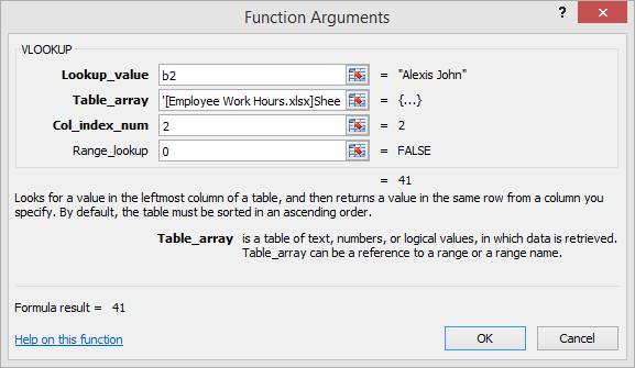 lookup function arguments dialog