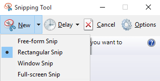 snipping tool menu options