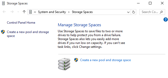 create storage spaces in windows 10