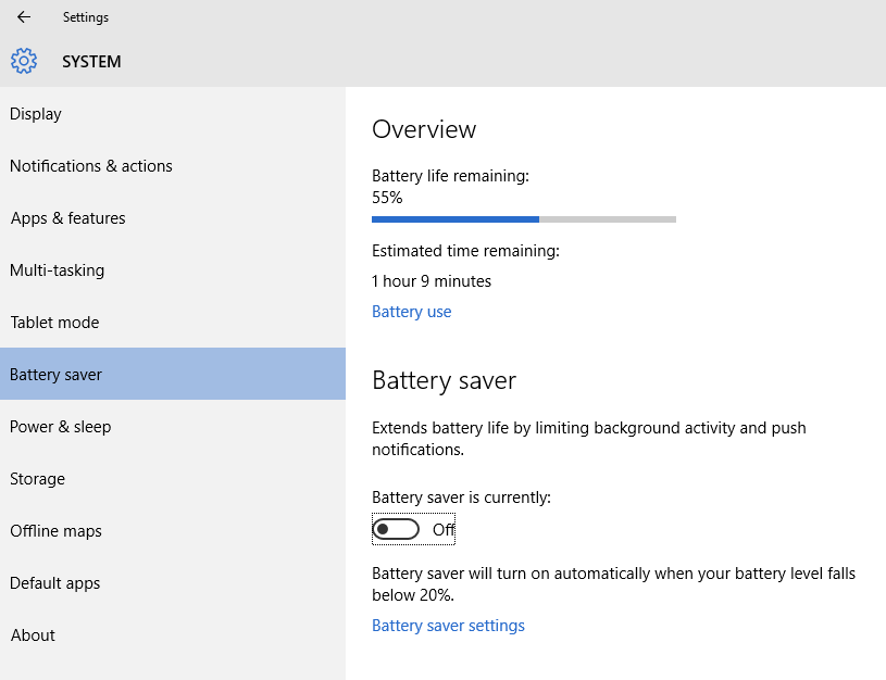 Battery Saver settings