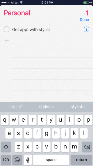 Create a list and enter a reminder task