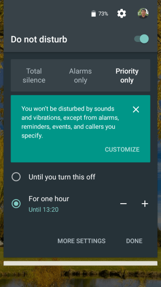 Setting Do not Disturb in android marshmallow