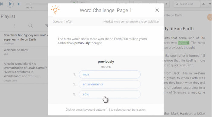 Word Challenge in Capti
