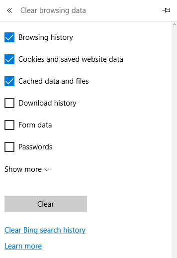 Clear Browsing History in Microsoft Edge
