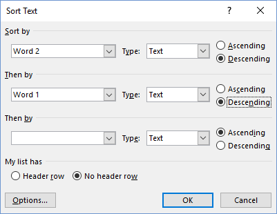 How to Sort List of Names in Word by last name