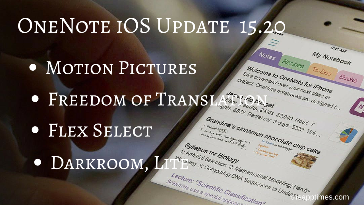 OneNote iOS Update 15.20 Like it